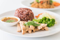 roast chicken and vegetable with berry rice Stock Image