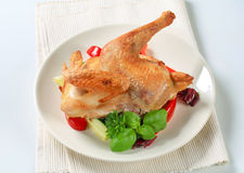Roast chicken with vegetable garnish Stock Photos