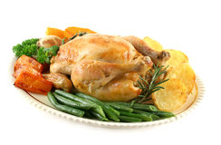 Roast Chicken And Vegetables Royalty Free Stock Photo