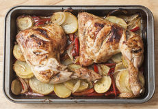 Roast chicken with vegetables Stock Photography