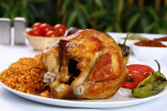Roast Chicken And Vegetables stock photos