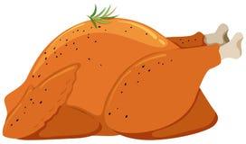Roast chicken on white background. Illustration Stock Image