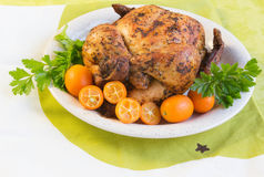 Roast chicken on white and green. Roast chicken with Stock Images
