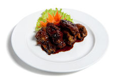 Roast Chicken Wings On A Plate Royalty Free Stock Photos