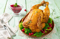 Roast Chicken With Cranberry Sauce Royalty Free Stock Images