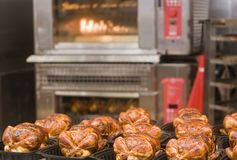 Roast Chickens and Oven Royalty Free Stock Images