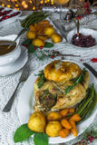 Roast Christmas chicken dinner Stock Photography