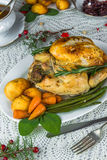 Roast Christmas chicken dinner Royalty Free Stock Images
