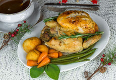 Roast Christmas chicken dinner Stock Photos