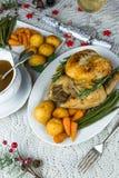 Roast Christmas chicken dinner Stock Images