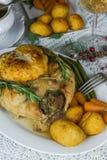 Roast Christmas chicken dinner Stock Image