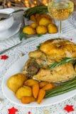 Roast Christmas chicken dinner Stock Photo