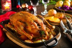 Roast Christmas duck with apples stock images