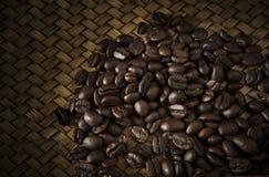 Roast coffee bean on wood stock photo