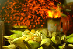 Roast Corn 2. Corn stacked for roasting at a beach in India. The corn will be fired and then sprinkled with pepper and spices to make a delicious snack Stock Photo