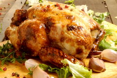 Roast and delicious chicken served on table food kitchen Stock Photo