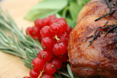 Roast dinner. Roast meat on a wooden food board Royalty Free Stock Image