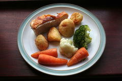 Roast Dinner, Healthy eating. Plate of Roast Turkey and Vegetables Stock Photos