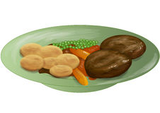 Roast dinner. Meal in green plate  on white Royalty Free Stock Photo