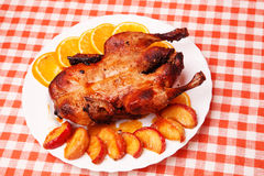 Roast duck with apples and oranges Royalty Free Stock Photography