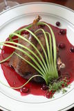 Roast duck with berry red sauce Stock Image