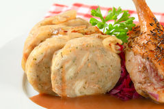 Roast duck with bread dumplings and red cabbage Royalty Free Stock Photos
