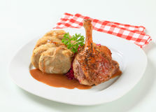 Roast duck with bread dumplings and red cabbage Royalty Free Stock Image