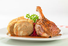 Roast duck with bread dumplings and red cabbage Stock Photography