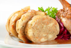 Roast duck with bread dumplings and red cabbage Stock Photo