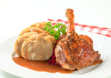 Roast duck with bread dumplings and red cabbage Stock Images