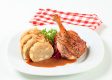 Roast duck with bread dumplings and red cabbage Royalty Free Stock Photography
