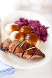 Roast duck breast with potato dumplings Stock Photos