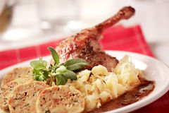 Roast Duck with Cabbage and  Bread  Dumplings Stock Photography