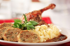 Roast Duck with Cabbage and  Bread  Dumplings Stock Photo