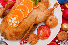 Roast duck.Christmas dinner. Royalty Free Stock Image