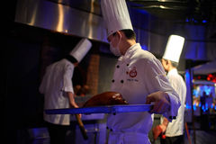 Roast Duck cooking Dadong restaurant Beijing China Royalty Free Stock Photos