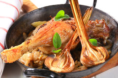 Roast duck leg with onion Stock Image