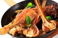 Roast duck leg with onion Stock Images