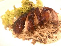 Roast Duck Noodle. Yummy Stock Photo
