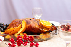 Roast duck with orange Royalty Free Stock Photos