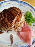 Roast duck over rice. At bangpree of Thailand stock photos