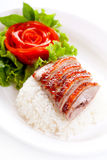 Roast Duck over Rice and vegetables Stock Photos