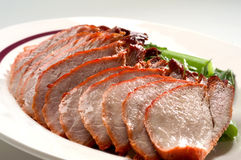 Roast duck on plate Royalty Free Stock Photo