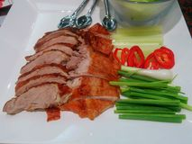 Roast duck on a plate with veggies and white sauce. royalty free stock photos