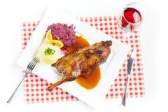 Roast duck with potato dumpling Stock Images