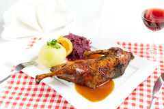 Roast duck with potato dumpling Royalty Free Stock Photo
