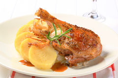 Roast duck with potato dumplings and white cabbage Royalty Free Stock Photos