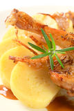 Roast duck with potato dumplings and white cabbage Stock Image