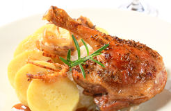 Roast duck with potato dumplings and white cabbage Stock Photography