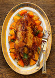 Roast duck. With pumpkin and oranges Royalty Free Stock Photography